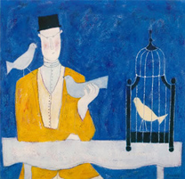 man with bird cage